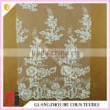 HC-5628-1 Hechun Guangzhou Beautiful Clear Sequin Bead Venice Bridal Lace Fabric for Dress                                                                         Quality Choice