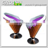 ice cream decoration shop Furniture Fiberglass Ice cream Cone Chair and Table for bar seat