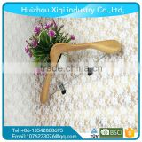 wholesale customized natural clolor wooden hanger for wet clothes or pants with copper hook