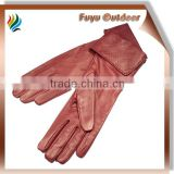 2015 HEBEI Long Brown Winter Split Cowhide Dent Lined Young Ladies Dents Ladies Leather Gloves