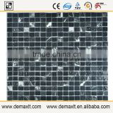 Black diamond X8 crystal glass mix marble mosaic tile for bar wall