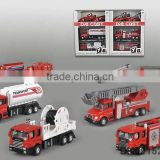 Pull back diecast fire trucks Realistic modeling Structure exquisite