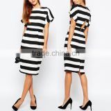 Apparel classic black white banded stripe woman shift dress plus size for sale