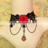Handmade Red Flower Rose Bead Drop Pendant Black Lace Choker Short Necklace Lolita Gothic Vintage Party Cosply