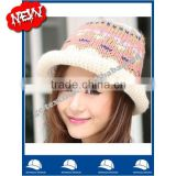 wool acrylic winter knitted bucket hat and cap with roll brim and fashion jacquard pattern wholesale from china