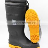 Black Cold-Resistant Winter Work Rain Boots with Fur Lining