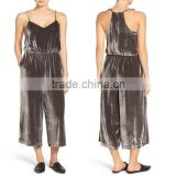 Top Selling New Fashion Lady Loose Casual Romper Sexy Plain Comfy Shimmer Shine Crushed Velvet Camisole Jumpsuit