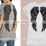 Summer New Fashion Back Angel Wings Tropical Print Female T-shirts Short Sleeve Casual Loose Tops Plus Size Women's Tee