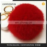 9cm large genuine rabbit fur pompom key chain wholesale China fur pompom key chain