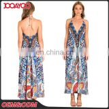 Attractive Fashion Women Sexy Deep V Neck Casual Slip Dress Long African Print Maxi Dress