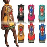 African Dashiki Shirt Party Dress Kaftan Boho Hippie Gypsy Festival Tops African women's Dashiki Print Kaftan Party Mini Dresses