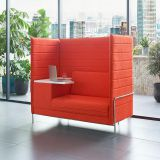 Modern high back privacy office single booth seating sofa with writing tablet
