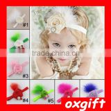 OXGIFT Cute 7-color rose hair band hair accessories feather headdress for sale