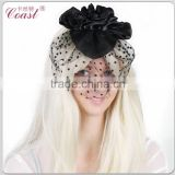 big decorative black chiffon hair flowers clip for adults