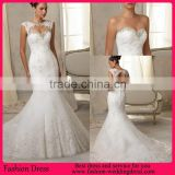 Hot Sale Elegant Key Hole Back Beaded Neckline Alibaba Wedding Dress Mermaid Gown With Lace Applique
