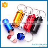 Hot promotion aluminum pill bottle keychain wholesale