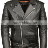 genuine cowhide leather motorcycle biker jacket comes with six pockets: two inner pockets, two front pockets with zippers