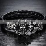 Popular wristbands genuine leather bracelets rock roll retro stainless steel bangles discount price