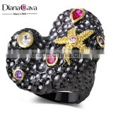 New Exclusive 2016 Black Gold Color CZ Zircon Crystals Heart Shape Women Ring