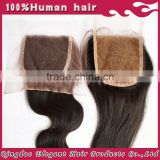 hot selling with middle part virgin brazilian human hair lace closure