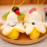 Plush 9cm Fruit Banana Keychain/Soft Stuffed 9cm High Keychain/Mini Simling Peeling Banana Keychain