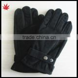 men's convention pig suede leather gloves with knitting belt