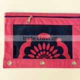 Osini design custom 3-Ring binder colorful zipper pencil pouch with flower print fabrics window