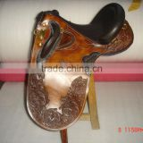 Leather horse stock saddle