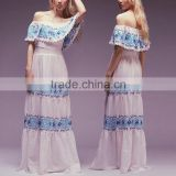 Latest Maxi Dress Designs Pictures Fashion Long Off Shoulder Umbrella Dress with Embroidery HSd7538