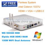 8GB RAM 500GBHDD 300M Wireless Module Built-in Mini Single Board Computer HDMI Thin Clients Mini Car PC 12V 3A DHL Free Shipping