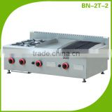 Cosbao gas stove with gridde and char broiler/counter top gas cooking range with 2 burners (BN-2T-2)