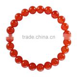 Fashion Charm Bangle Latest Design Daily Wear Bangle 8 mm 7.5 Inch Red Agate Gemstone Bracelet (Jewelry Box is not Included)
