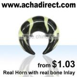 Piercing jewelry,organic body jewelry pincher made of real black horn,bone inlay (Bali-Indonesia), price from US$ 1.03/ piece