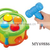 B/O funny plastic toy hammer with music for promotion high quality chrismas mini plastic toy hammer