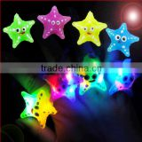 Multicolor LED Flashing Toy Cartoon Starfish Finger Rings Gadgets Blinking Party Soft Light Up Ring With Battries