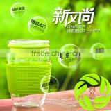 Wholesale borosilicate glass environmental protection hand-made galss teacup 6 color insulating rubber glass teaware teaset