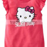 top fashion girl t shirt plain red custom kids girls kitty t shirt
