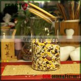 Top quality hot-sale tea glass canister with sealed bamboo lid