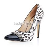 Sexy Ladies leopard print high heel safety shoes white horsehair