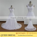 Real Sample Sleeveless Appliqued Lace Elegant Beaded Chinese Wedding Dress