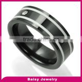 China factory wholesale trendy fashion mens black ceramic diamond ring