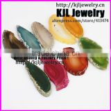 KJL-A0424 Natural slice agate drilled stone beads finding, fashion charm stone quartz drusy stone jade pendant