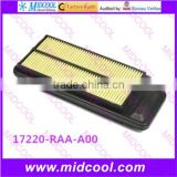 High quality air filter cabinfilter for 17220-RAA-A00 17220RAA00