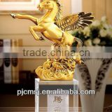 Fancy Golden Horse Figurine With Crystal Base For Gifts