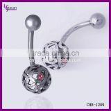 Mickey Body Jewelry Hollow Ball Red Crystal 14g Navel Banana Belly Rings