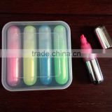 3 pcs plastic box highlighter set/office stationery gift highlighter set