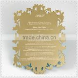 Golden Engraving Acrylic Mirror Card For Wedding Invitation Centerpieces