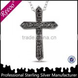 Men's 925 Silver Zircon Cross Pendants Jesus Christ Cross Pendant