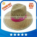 Wholesale custom logo band straw panama hats summer borsalino mens hats wide flat brim sombreros sun straw hat