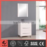 Lacquer white MDF bathroom vanity with glass basin 0046